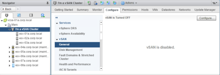 vSAN disabled